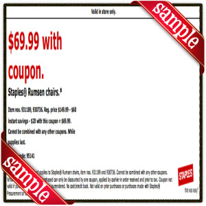$69 Staples Prinable Coupon December 2016