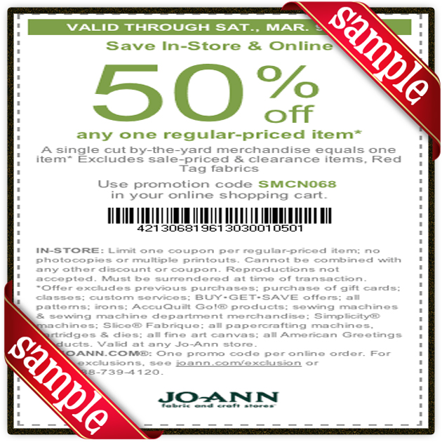 Sample Joann Printable Coupon and Mail-in Coupons