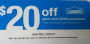 LOWES 20 OFF COUPON