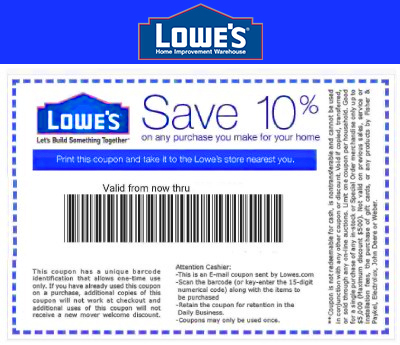 Lowes 10 Off Printable Coupon Pdf