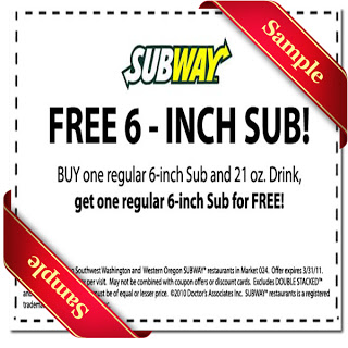SAMPLE SUBWAY COUPONS