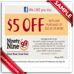 99 Restaurants Coupon