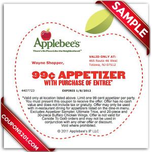 Applebees coupon printable