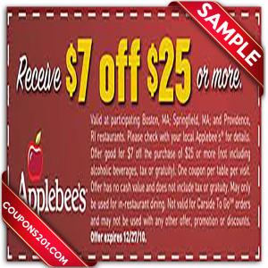 Applebees printable coupon