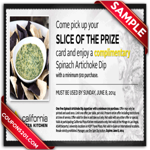 California Pizza Kitchen coupons free