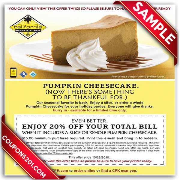 ... California Pizza Kitchen Coupons ...