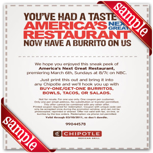 Chipotle Mexican Grill Off Coupon 2016