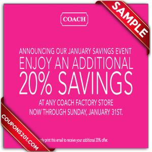 Coach coupon free printable