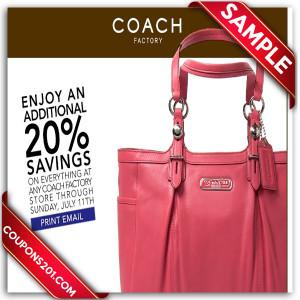 Coach coupons printable