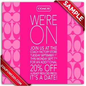 Coach free printable coupons