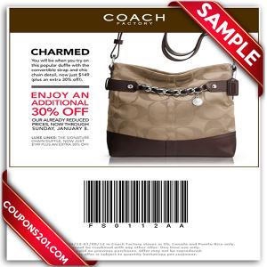 Coach printable coupon free