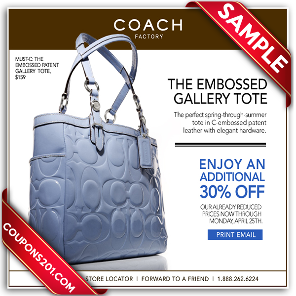 Coach coupon store printable