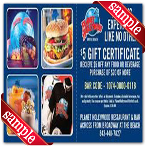 Coupon for Planet Hollywood Printable