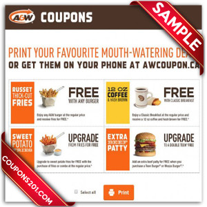Free A&W printable Coupon