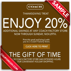 Free Coach coupons