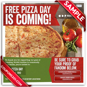 Free coupon Sbarro