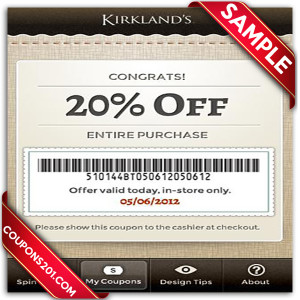 Free printable Kirklands coupon