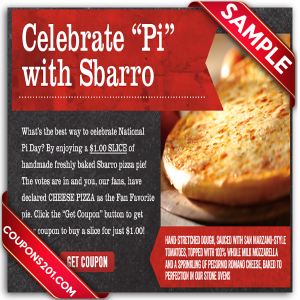 Free printable Sbarro Coupons