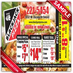 Free printable coupon BlackJack Pizza