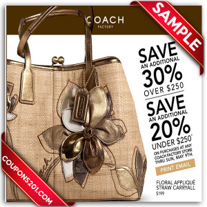 Free printable coupon for Coach