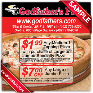 New coupons are always being added, helping you save more money when the check comes. Whether you're getting the family together for dinner or feeding a whole soccer team, you'll always get a great meal from Godfather's Pizza. In addition to their specialty pies, the menu is filled with great options including wings, calzones and salads.