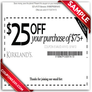 Kirklands free printable coupon