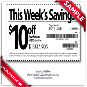Kirklands free printable coupons