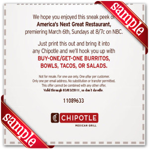 Latest Chipotle Mexican Grill Coupon For 2014