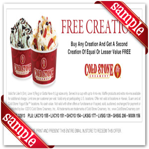 Latest Cold Stone Creamery Coupon For 2016