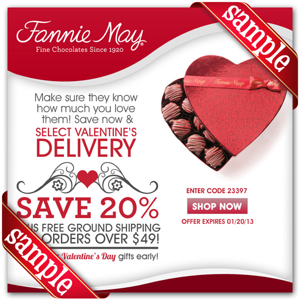 photo regarding Fannie May Coupons Printable known as Fannie Could possibly Printable Coupon December 2016