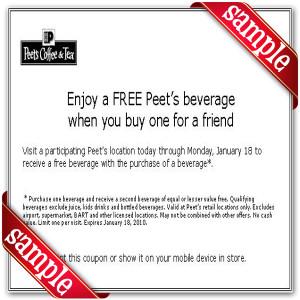 Latest Peet's Coffee & Tea Coupon for 2016