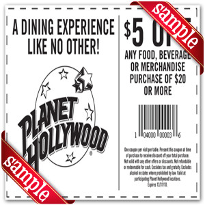 Planet Hollywood Off Coupon 2016