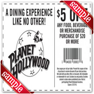 Planet Hollywood Online Coupons
