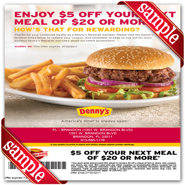 Printable coupons denny's restaurant