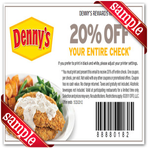 Printable Denny's Restaurant Coupons