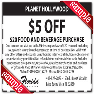 Printable Planet Hollywood Coupons