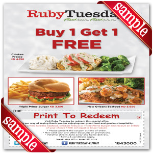 Ruby Tuesday Off Coupon 2016
