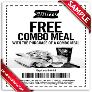 Sbarro coupon