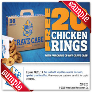 White Castle Chicken Ring Coupon