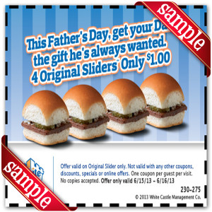 White Castle Fathers Day Coupon