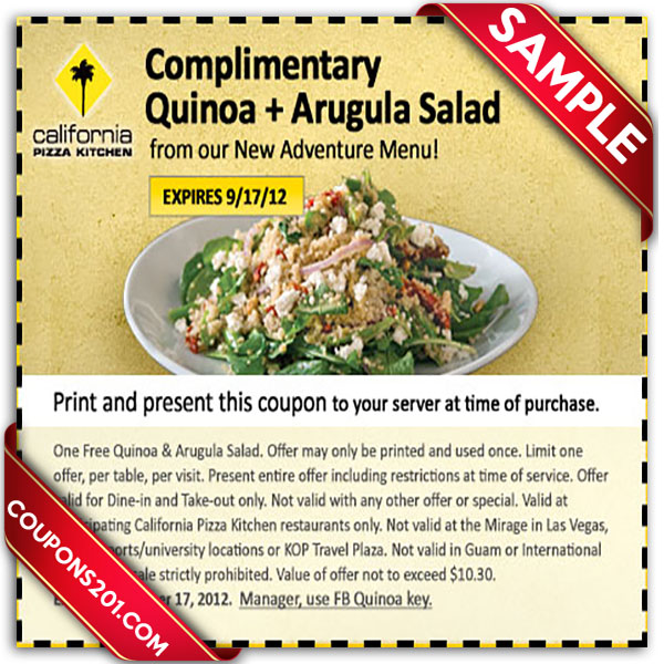Coupons California Pizza Kitchen
