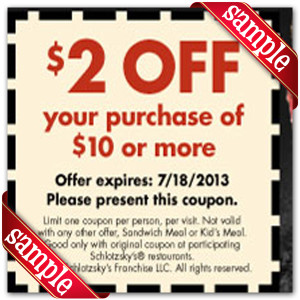 schlotzskys Coupon 2016