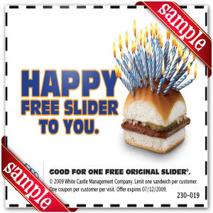 white castle free slider sample coupon